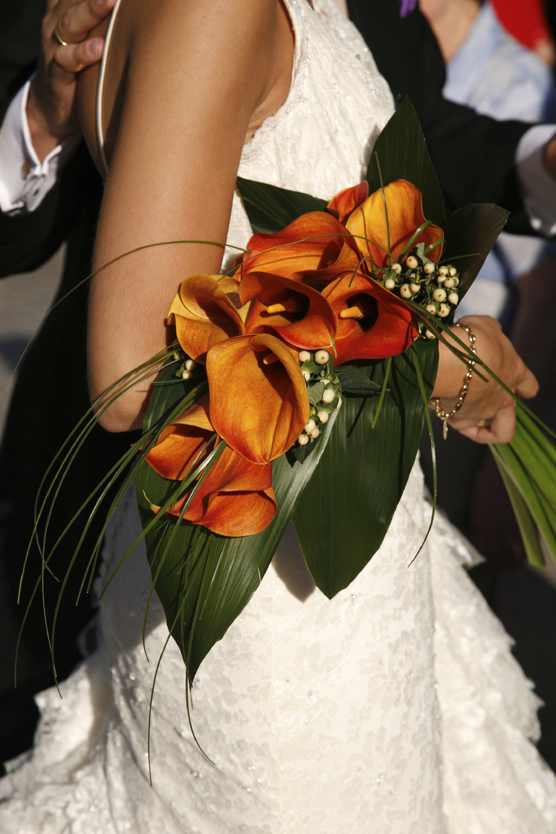 Brautstrauss calla orange